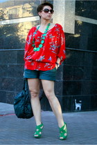 red Zara blouse - teal Zara shoes - dark green beefree shirt