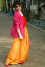 Hot-pink-h-m-jacket-red-h-m-blouse-carrot-orange-zara-skirt