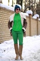 tan Zara boots - light brown Zara coat - green lindex jeans - teal H&M cape