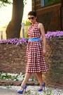 Brick-red-asos-dress-blue-christian-louboutin-heels