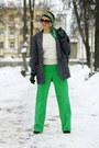 Charcoal-gray-mango-coat-green-h-m-scarf-green-asos-pants