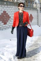 navy long skirt new look skirt - red short H&M jacket - black Zara blouse