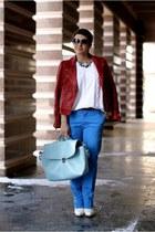 blue H&M pants - ruby red Zara jacket - white Promod sweater