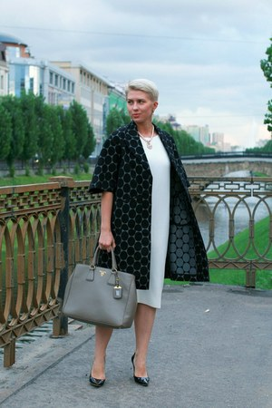 white Zara dress - dark gray MMM at H&M coat - heather gray Prada bag