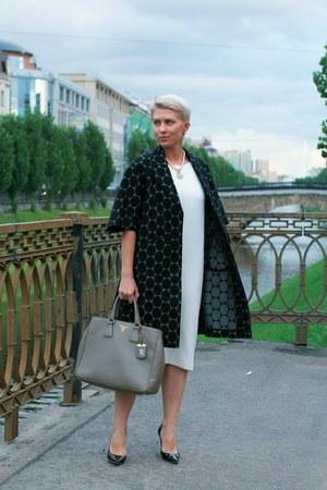 white Zara dress - dark gray MMM at H&M coat - heather gray Prada bag