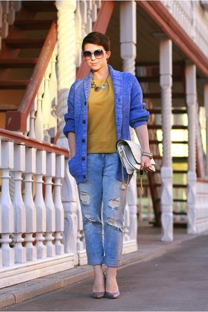 blue H&amp;M cardigan - sky blue Zara jeans