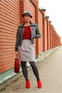 Silver-zara-hat-brick-red-gap-sweater-silver-asoscom-skirt