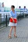 Sky-blue-reserved-shirt-red-zara-bag-off-white-zara-skirt-camel-zara-heels