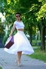 White-asos-top-bubble-gum-furla-bag-white-asos-skirt
