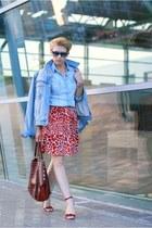 ruby red H&M skirt - sky blue Stradivarius shirt - brick red Furla bag