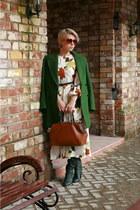 white Zarina Babadzhanova dress - forest green Zara coat