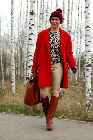 red asoscom coat - brick red H&M hat - brown Zara bag