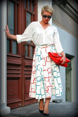 white Zara shirt - red Zara bag