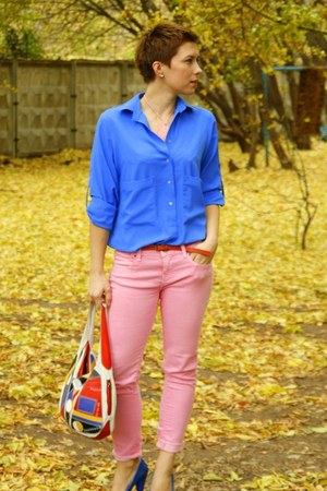 bubble gum Zara jeans - blue Zara shirt - blue Aldo heels