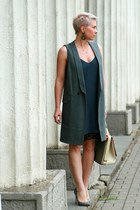 gray Zara vest - charcoal gray Zara dress - gold Max Mara bag