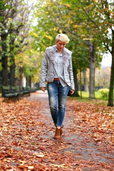 brown Zara boots - blue Zara jeans - silver H&M shirt