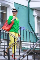 yellow H&M pants - carrot orange DKNY bag - green H&M cardigan