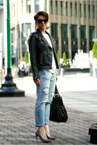 light blue Zara jeans - black Zara jacket - off white Zara sweater