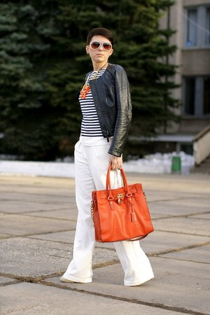 black Zara jacket - carrot orange Michael Kors bag - white asos pants
