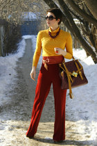 brick red Zara pants - crimson asoscom bag - mustard unknown brand top