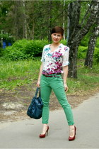 green lindex jeans - brick red Aldo heels - maroon Zara blouse