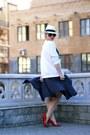 White-zolla-hat-navy-h-m-skirt-white-h-m-sweatshirt-red-zara-pumps