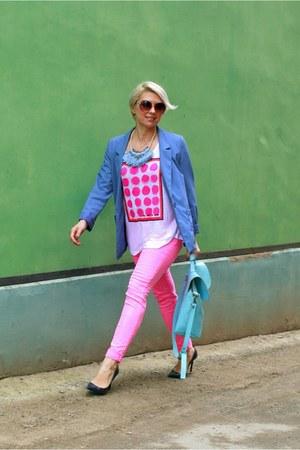 hot pink lindex jeans - sky blue H&M blazer - white lindex t-shirt