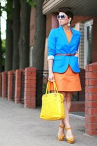 blue reserved jacket - carrot orange Incity dress - yellow domani bag