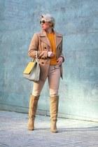 camel Zara boots - mustard COS sweater - gold MaxMara bag