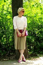 light pink Mango sweater - magenta Prada bag - dark khaki Mango skirt