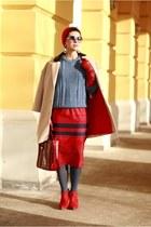 red Zara shoes - red asos skirt