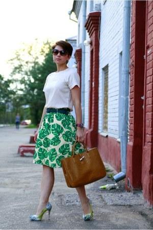 teal Vero Moda skirt - brown longchamp bag - turquoise blue Aldo heels