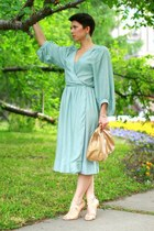 light blue H&M dress - camel Massimo Dutti bag - cream Zara heels