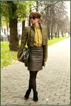 army green Mango jacket - mustard H&M shirt