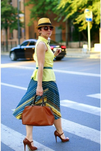 light yellow H&M shirt - brown Massimo Dutti bag - teal Monsoon skirt