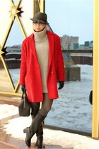 red asos coat - heather gray Zara dress - black Furla bag
