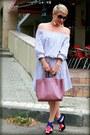 Pink-furla-bag-blue-zara-heels