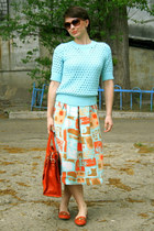 orange H&M skirt - carrot orange Michael Kors bag - aquamarine H&M blouse