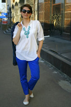white Zara shoes - blue Promod pants - turquoise blue H&M necklace