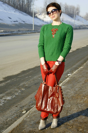 brick red Furla bag - ruby red Zara jeans - teal Zara sweater