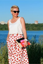 white asos skirt - hot pink dvf bag - white lindex top