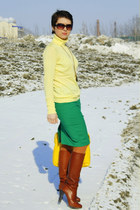 yellow domani bag - light yellow BeFree sweater - teal Zara skirt