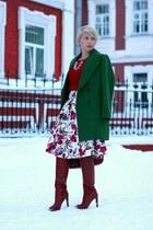 dark green Zara coat - brick red Gap sweater - brick red Furla bag