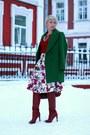 Dark-green-zara-coat-brick-red-gap-sweater-brick-red-furla-bag