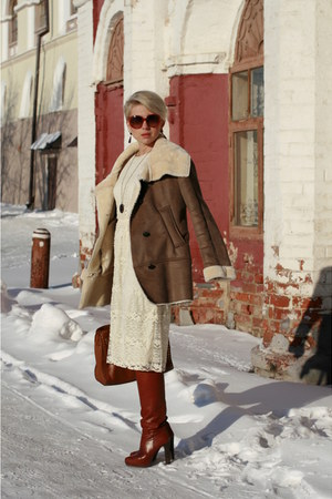 brown Zara coat - eggshell asoscom dress