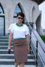 Dark-brown-prada-skirt-white-zara-t-shirt-black-jimmy-choo-pumps