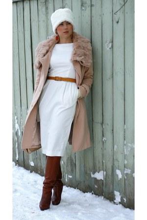 dark brown Zara boots - ivory asos dress - camel Massimo Dutti bag