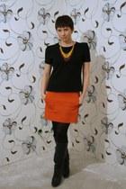 carrot orange Hugo Boss skirt - black Comme des Garcons blouse