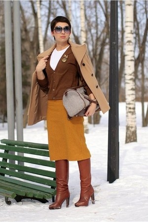 mustard Monton skirt - brown H&M cardigan