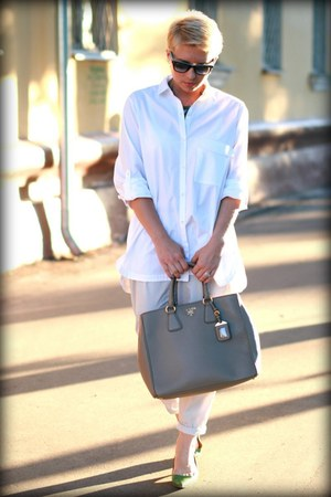white Zara shirt - heather gray Prada bag - silver Zara pants